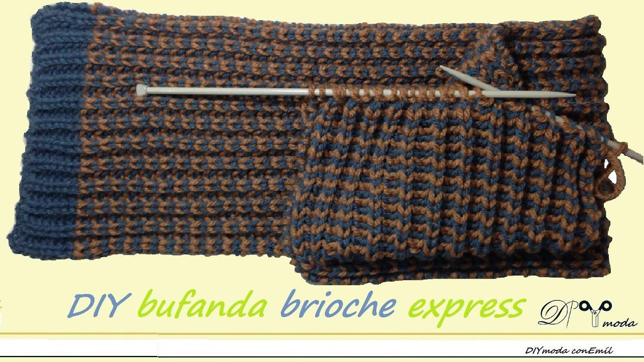 Cómo tejer bufanda de lana con dos agujas brioche express - YouTube ccd1ecf68df