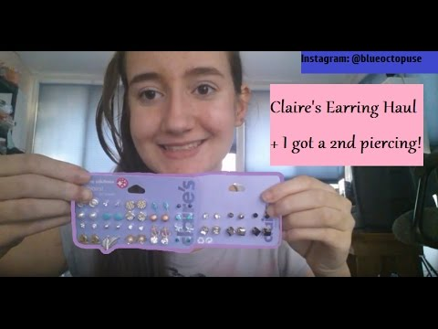 How I Got My 2nd Ear Piercing Claire S Earring Haul Youtube