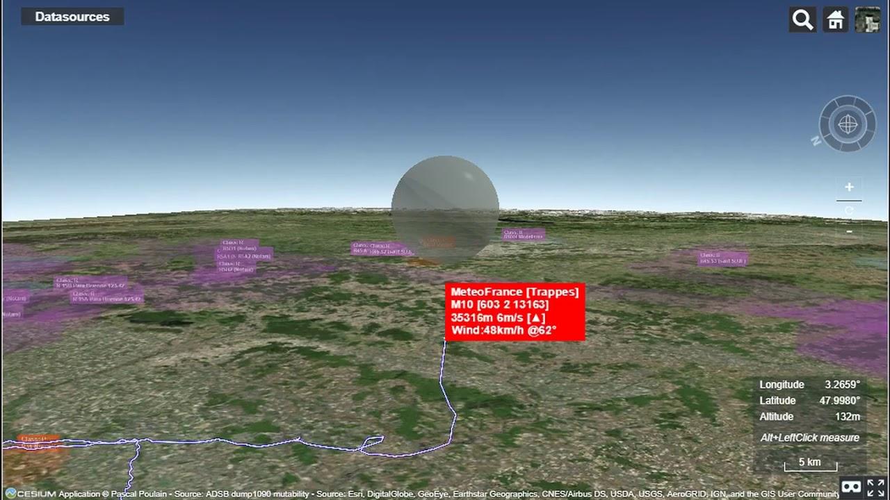 Illustration of 3D realtime tracking of weather sonde
