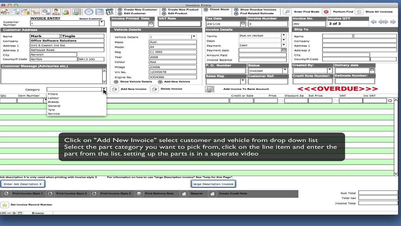 Garage Manager Quick Invoice And Invoicing Software Demo YouTube - Quick invoice