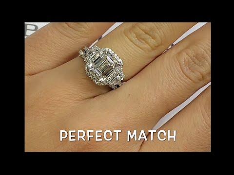 3 Carat Emerald Cut Diamond 3 Stone Halo Engagement Ring