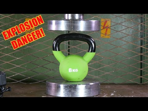 Crushing Kettlebell and Dumbbell with 150 Ton Hydraulic Press