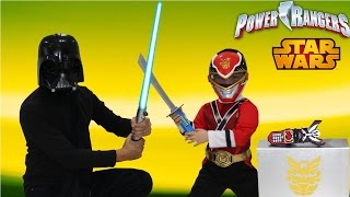 Power Rangers Super Megaforce Vs Star Wars Darth Vader Stealing The Legendary Morpher Ckn Toys