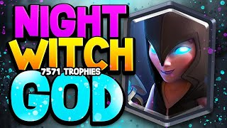 7,571 Trophies w/ the WORST LEGENDARY?! Night Witch Deck at TOP Ladder!