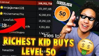 RICHEST KID TRIES TO BUY LEVEL 50 IN JAILBREAK?! (Roblox Jailbreak)