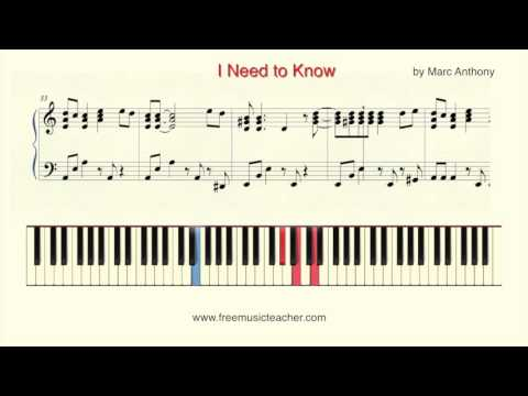 """How To Play Piano: """"I Need To Know"""" By Marc Anthony Piano Tutorial By Ramin Yousefi"""