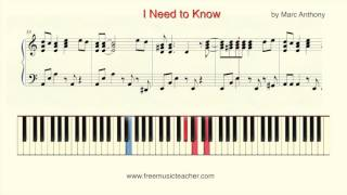 "How To Play Piano: ""I Need to Know"" by Marc Anthony Piano Tutorial by Ramin Yousefi"