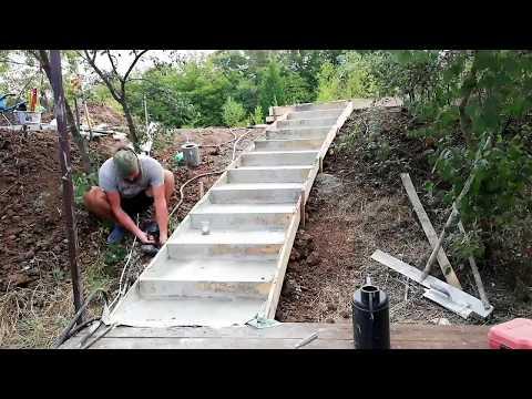 Как сделать бетонные ступеньки на склоне
