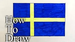Hur man ritar Sveriges flagga(Ehedov Elnur)How to draw Flag of Sweden