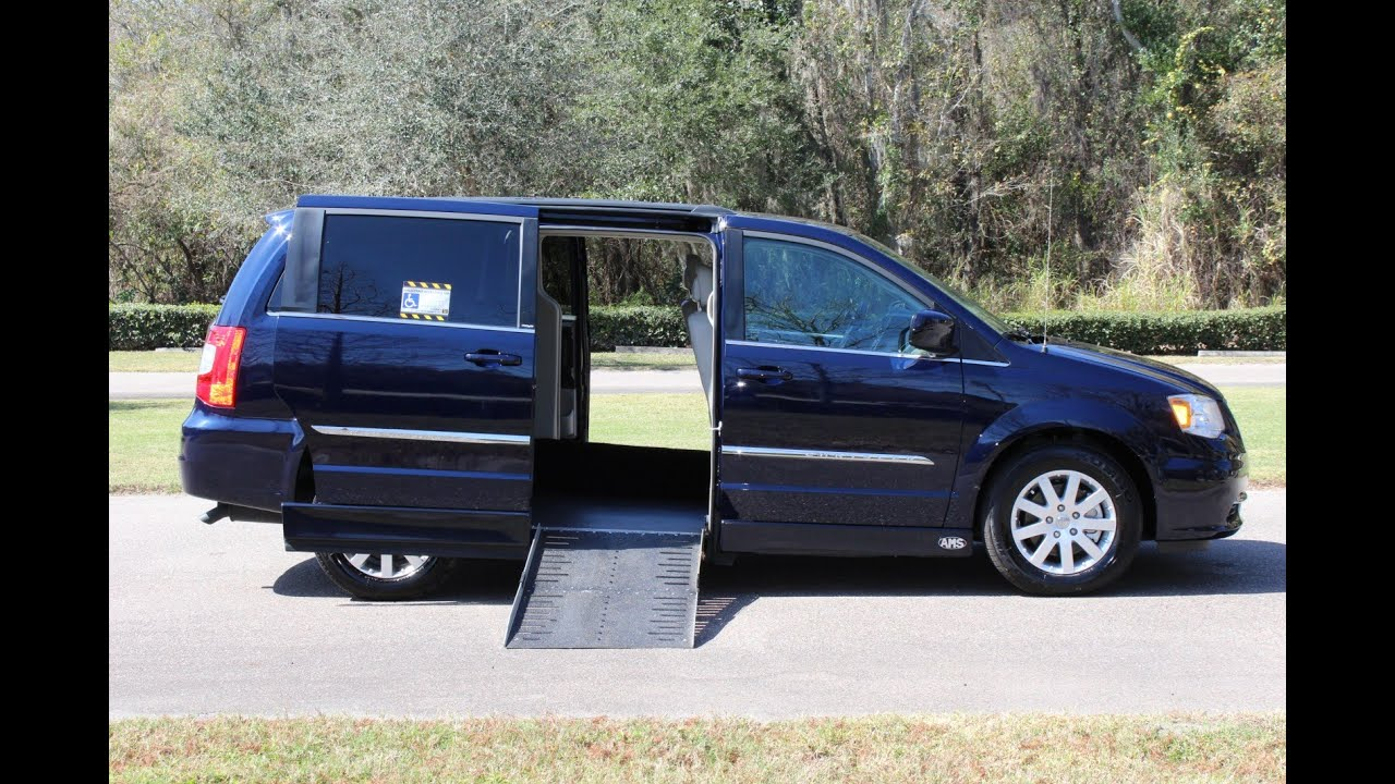 Wheelchair van handicap ramp ams van chrysler town country 2013 blue 9k www vipautogroupinc com