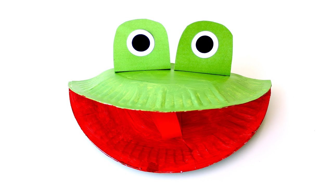How to make a frog puppet out of a paper plate - YouTube