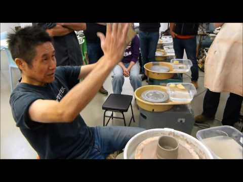 Shozo Michikawa demonstration 6    workshop day    throwing and trimming a Shino style ceramic teabo