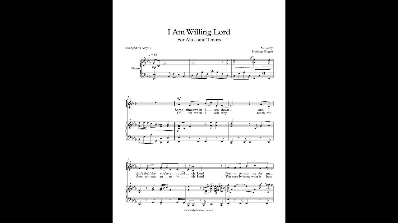 I Am Willing Lord The Heritage Singers Satb  U0026 Piano Chords