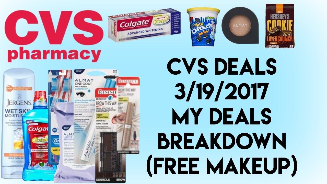 cvs deals 3  19  2017   my deals breakdown  free makeup