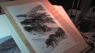 Watercolor Speed Painting of Snowscape