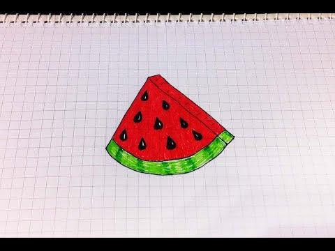 Простые рисунки #152 Рисуем арбуз =)
