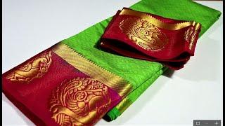 Patch work blouse design for silk saree