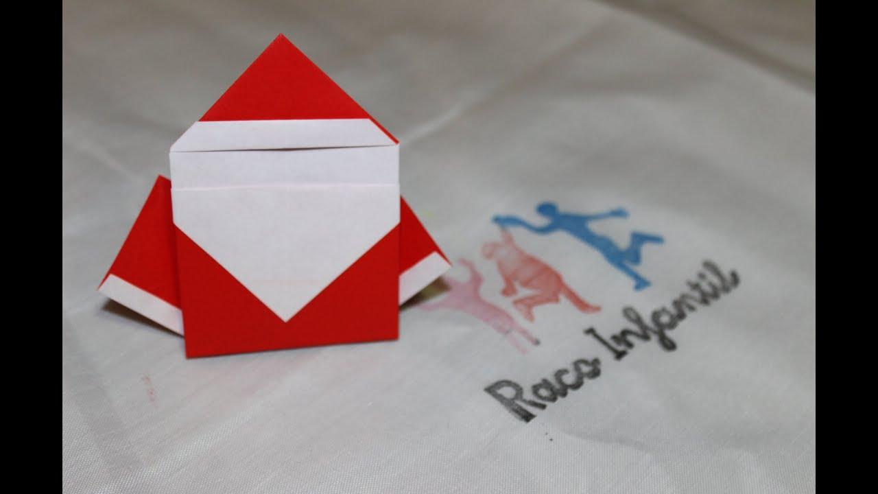 Como Hacer Un Papa Noel En Origami Youtube - Origami-papa-noel