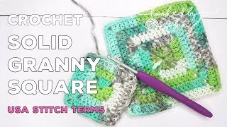 How to Crochet a Solid Granny Square | Easy Crochet Square For Beginners | Granny Square Tutorial