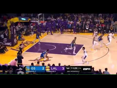 Lakers center JaVale McGee fakes injury, dunks on Warriors in preseason