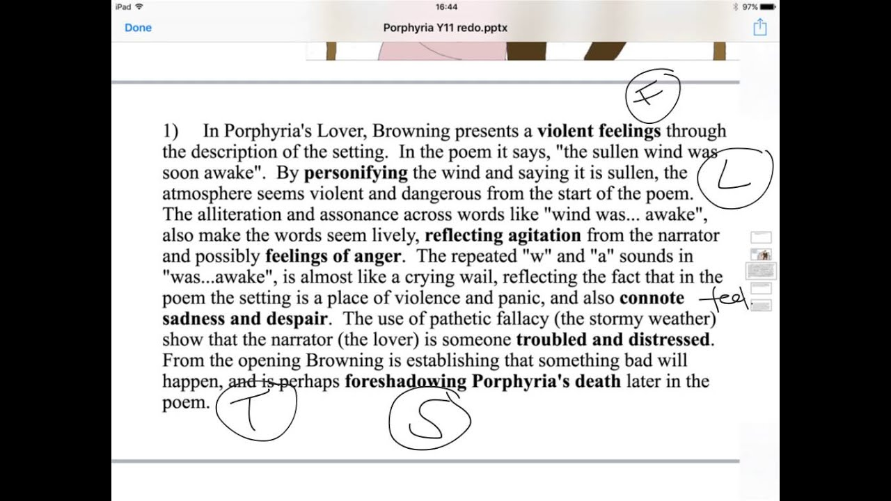 an examination of porphyrias lover by robert browning It's the turn of mr browning this week, with a poem that is quite a bit different than that of his wife, elizabeth porphyria's lover is no i think of thee.