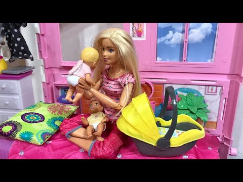 Barbie House Babies Haley and Ally Barbie Ken Family!!