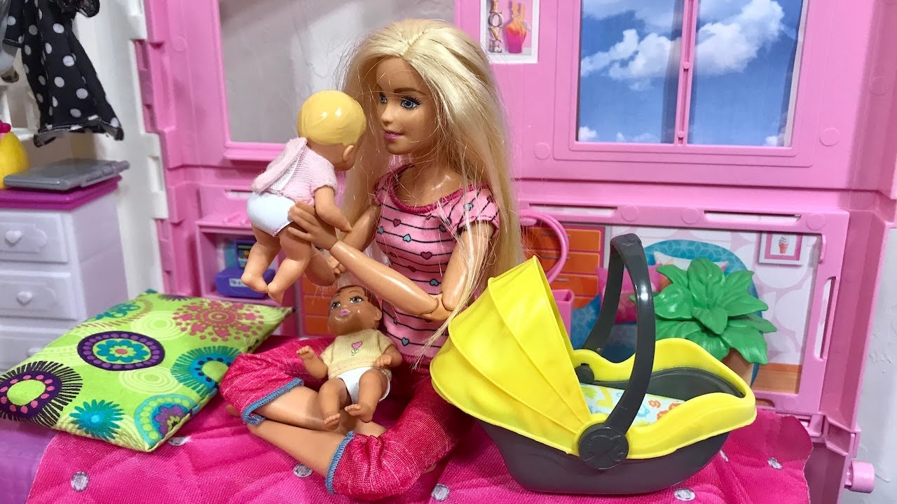 Barbie House Babies Haley and Ally Barbie Ken Family!! - YouTube