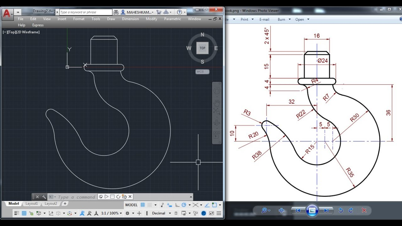 hight resolution of  autocad 2d practice drawing crane hook basic