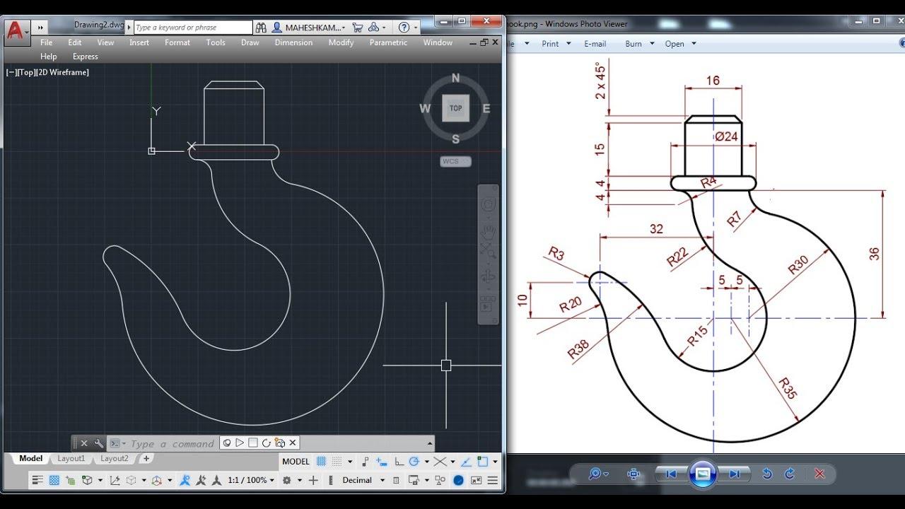medium resolution of  autocad 2d practice drawing crane hook basic