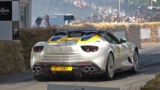 $5.0 Million One-Off Ferrari SP3JC Full Throttle Accelerations @ FOS Goodwood 2019