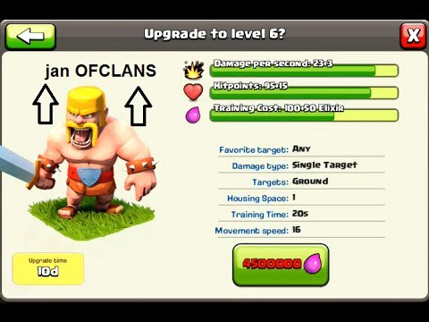 clash of clans  upgrading barbarian level 6  and attack