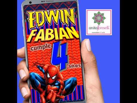Tarjeta Invitacion Spiderman Pv