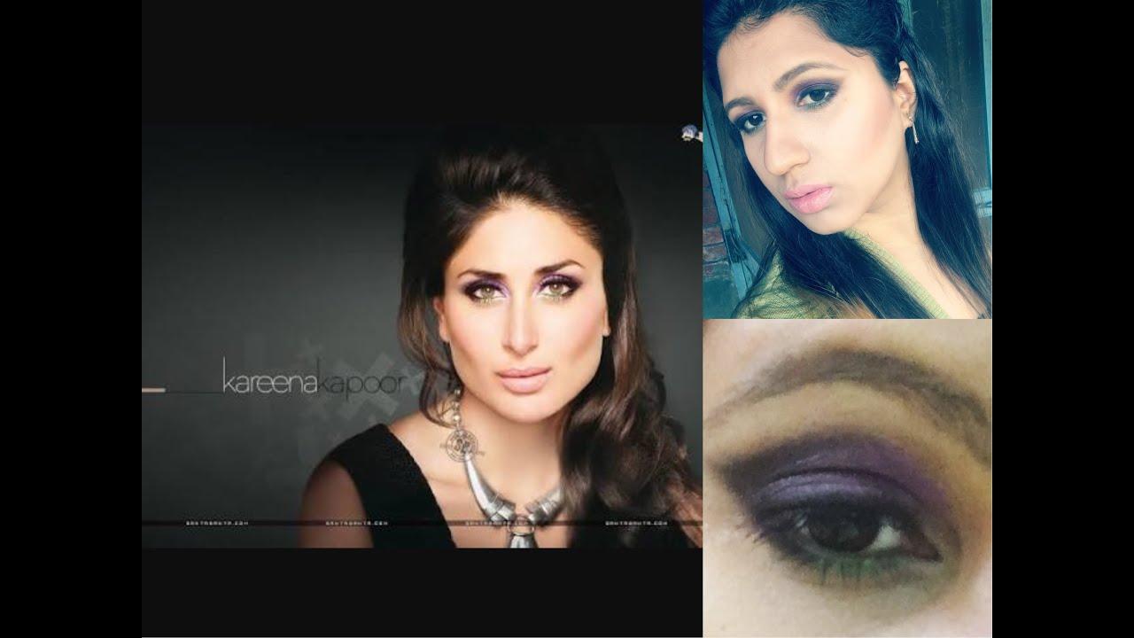 Kareena Kapoor's makeup tutorial/ purple green smokey eyes ...