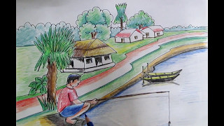 How To Draw a Fishing Scenery In the Pond