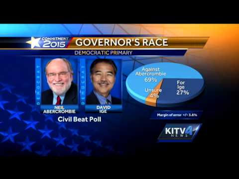 Poll shows Sen. Ige holds lead over Gov. Abercrombie