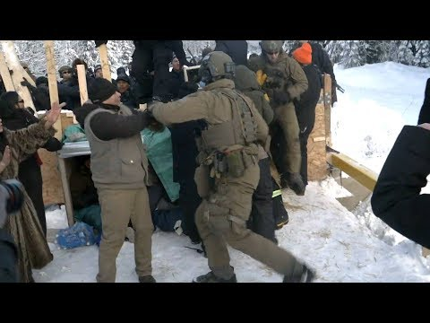 First Nations Pipeline Protest: 14 Land Protectors Arrested as Canadian Police Raid Indigenous Camp