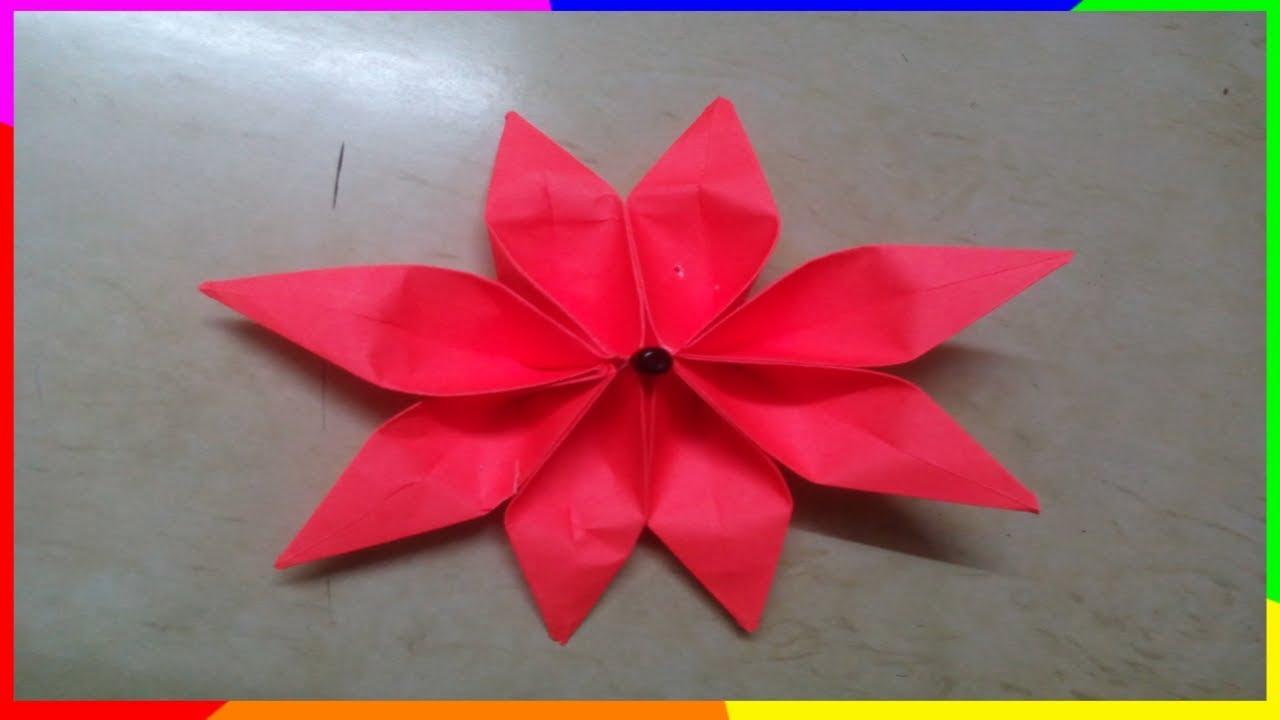 8 Petal Flower 8 Petal Flower Origami Youtube