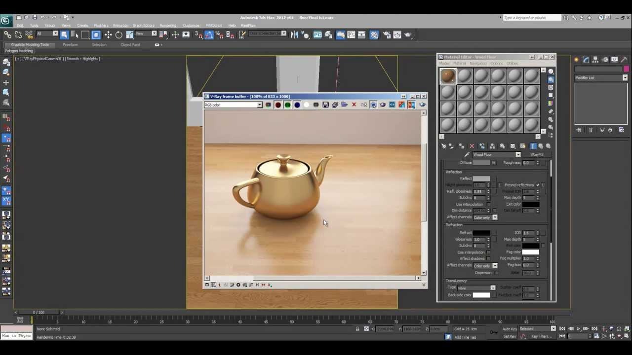 3ds max tutorial wood floor vray material youtube for Mirror vray material