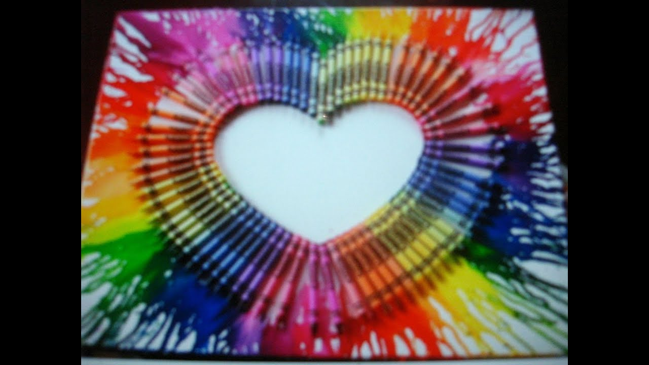 Melted crayons on a canvas youtube for Crayon diy canvas