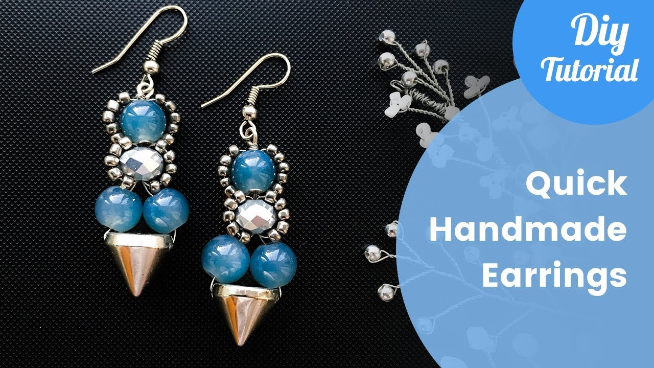 Quick Handmade Earrings Making. Earrings Tutorial. DIY Craft Idea ...