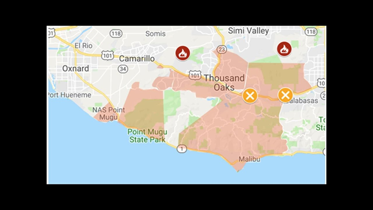 Map Of Woolsey And Hill Fires Highway 101 Closed Malibu Evacuated
