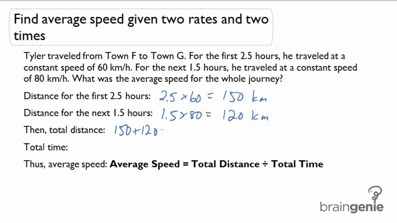 211 Find average speed given two rates and two times