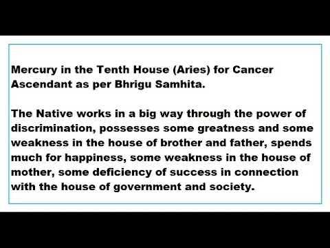 Mercury In 10th House For Cancer Ascendant As Per Bhrigu Samhita Youtube
