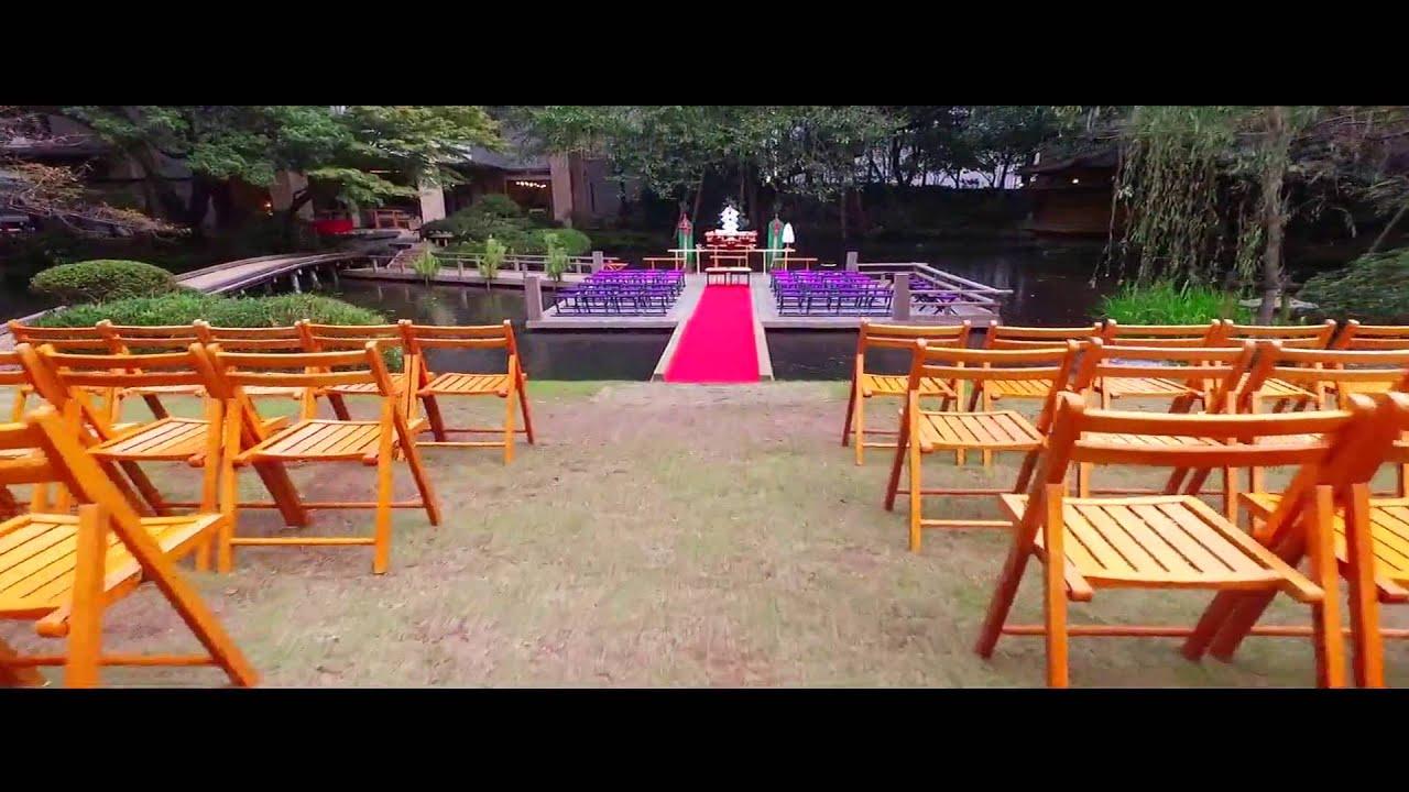 浮月楼水上ステージ結婚式 - YouTube