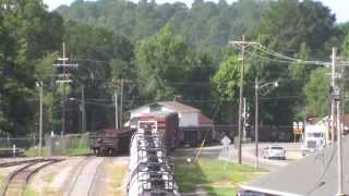 LNW 3807 leaving the Homer, LA yard with switching action