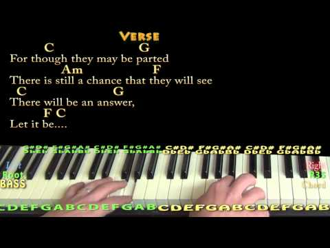 Let it Be (BEATLES) Piano Cover Lesson with Chords/Lyrics