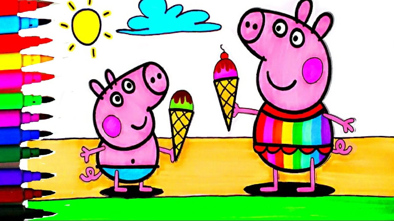 Peppa Pig BEST Coloring Book Pages And George Summer Fun Kids Art Activities