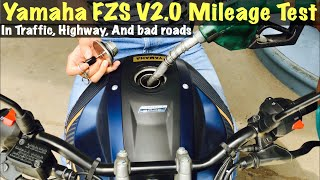 Yamaha FZS V2.0 Mileage test | Exact mileage in mixed riding