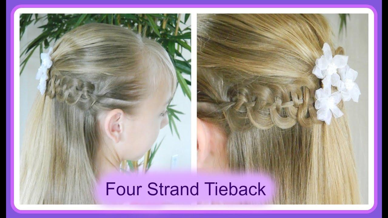 best first communion hairstyles / four strand braid tieback