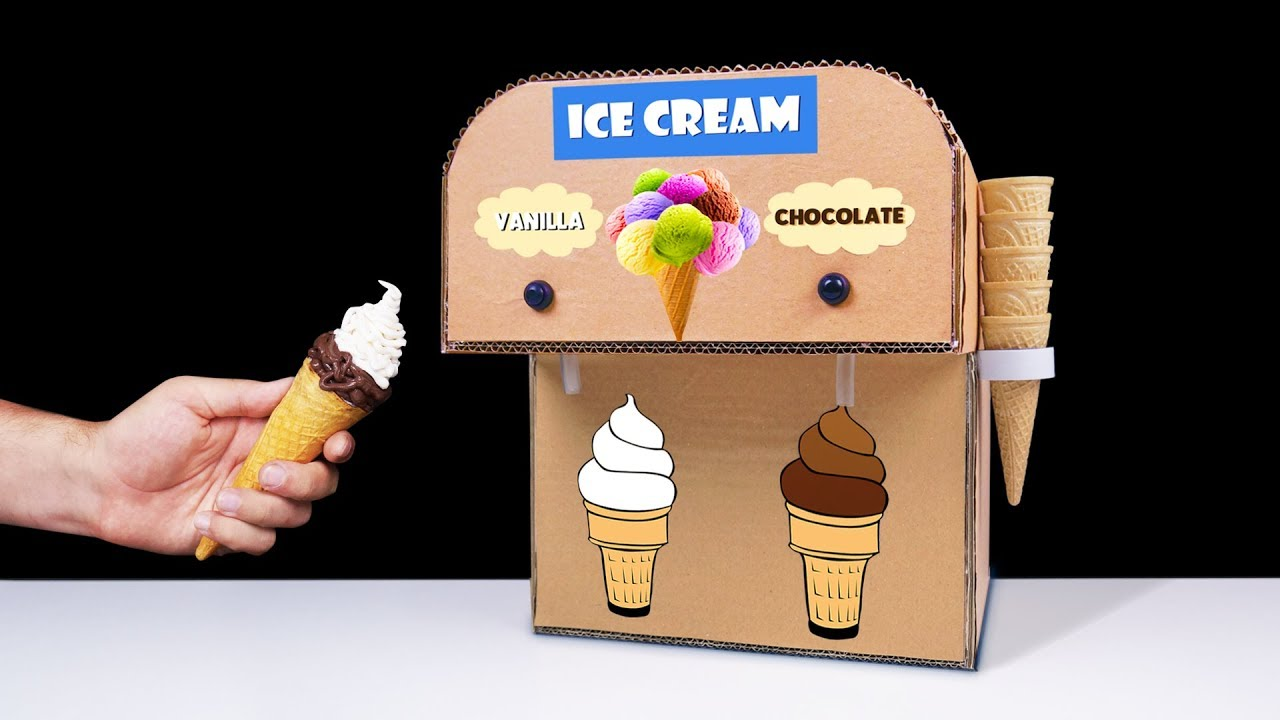 DIY How to Make Double Ice Cream Machine from Cardboard at Home